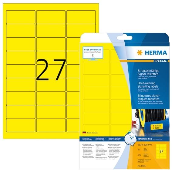 HERMA 8031 Signal-Etiketten strapazierfähig A4 63,5x29,6 mm gelb
