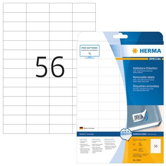 HERMA 5080 Ablösbare Etiketten A4 52,5x21,2 mm weiß Movables/abl
