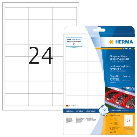 HERMA 4573 Wetterfeste Folien-Etiketten A4 66,0x33,8 mm ablösbar