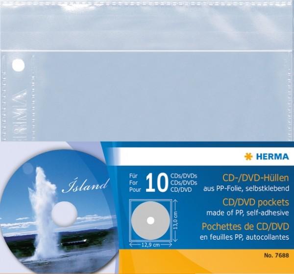 HERMA 7686 CD/DVD-Hüllen, 145x135 mm 5 Hüllen