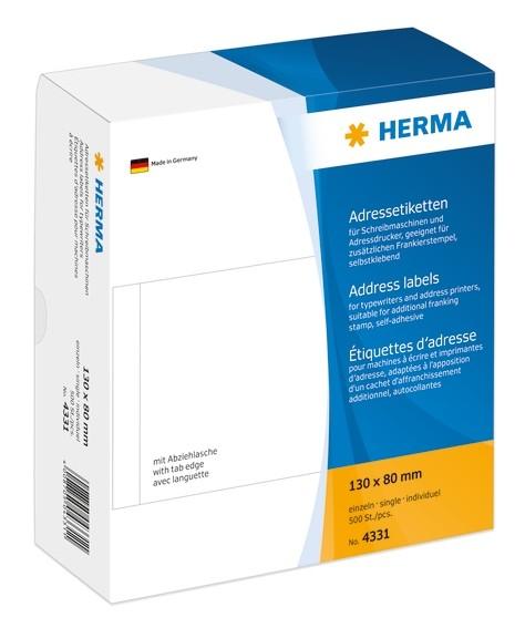HERMA 4331 Adressetiketten für Schreibmaschinen einzeln 130x80 m