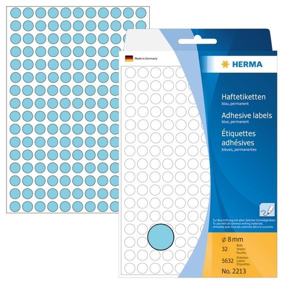 HERMA 2213 Vielzwecketiketten/Farbpunkte Ø 8 mm rund blau Papier