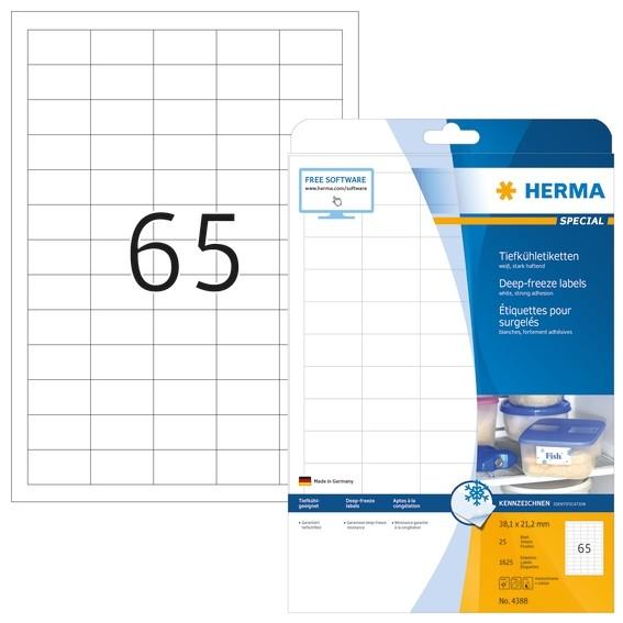 HERMA 4388 Tiefkühletiketten A4 38,1x21,2 mm weiß Papier matt 16
