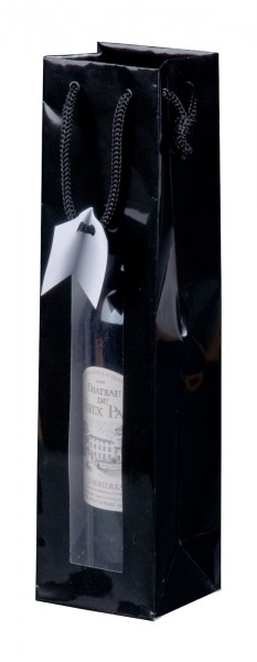 Geschenk-Flaschentasche für 1 Weinflasche mit Sichtfenster Schwarz Hochglanz