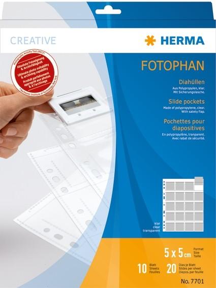 HERMA 7701 Diahüllen für Kleinbild-Dias, Folie klar 10 Hüllen