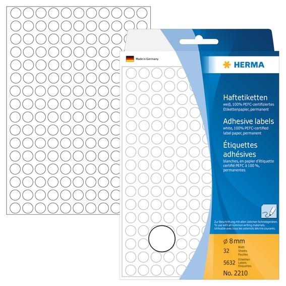 HERMA 2210 Vielzwecketiketten/Farbpunkte Ø 8 mm rund weiß Papier