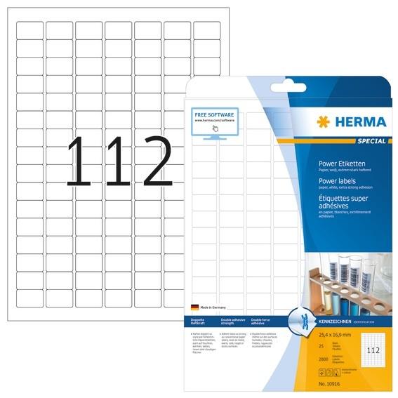 HERMA 10916 Etiketten A4 25,4x16,9 mm weiß extrem stark haftend