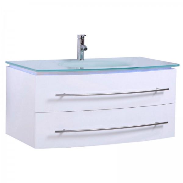 Midori Badmöbel Set Unterschrank Waschtisch Weiß Hochglanz 120 c
