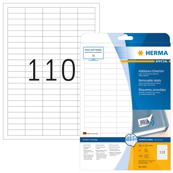 HERMA 4210 Ablösbare Etiketten A4 38,1x12,7 mm weiß Movables/abl