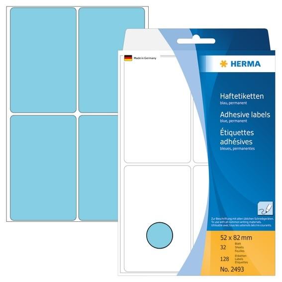 HERMA 2493 Vielzwecketiketten 52x82 mm blau Papier matt Handbesc