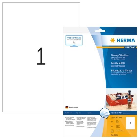 HERMA 8895 Inkjet-Etiketten A4 210x297 mm weiß Papier glänzend 1