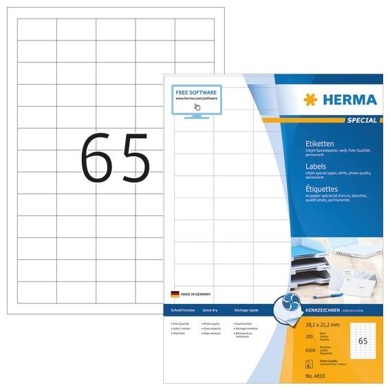 HERMA 4810 Inkjet-Etiketten A4 38,1x21,2 mm weiß Papier matt 650