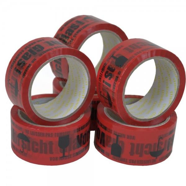 Midori Klebeband Rot Vorsicht Glas PP 48 mm x 66 Lfm