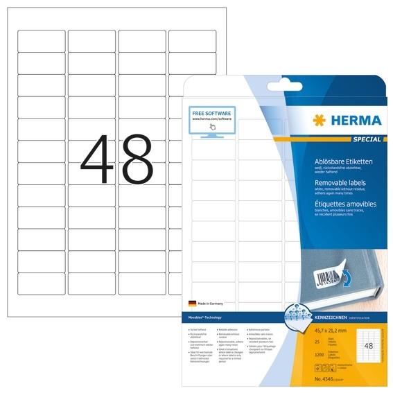 HERMA 4346 Ablösbare Etiketten A4 45,7x21,2 mm weiß Movables/abl