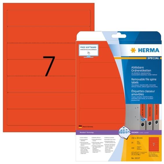 HERMA 10157 Ablösbare Ordneretiketten A4 192x38 mm rot Movables/