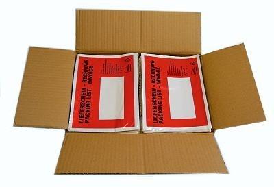 1000er Pack DIN C6 Lieferscheintaschen Rot / Bedruckt