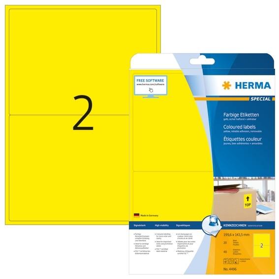 HERMA 4496 Farbige Etiketten A4 199,6x143,5 mm gelb ablösbar Pap