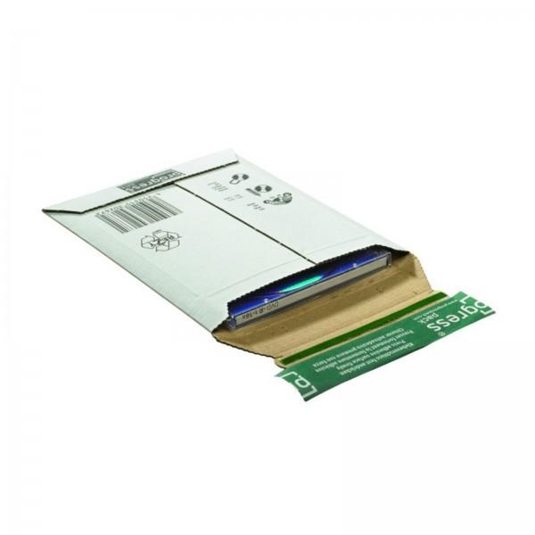203 x 158 x -28 mm CD-Versandtasche aus Wellpappe (weiß)