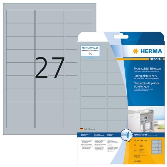 HERMA 4222 Typenschildetiketten A4 63,5x29,6 mm silber extrem st