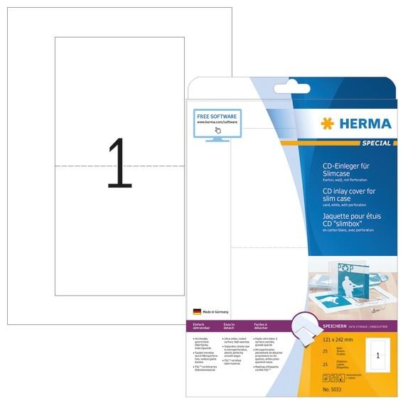HERMA 5033 CD-Einleger für Slimcase A4 121x242 mm weiß Karton pe
