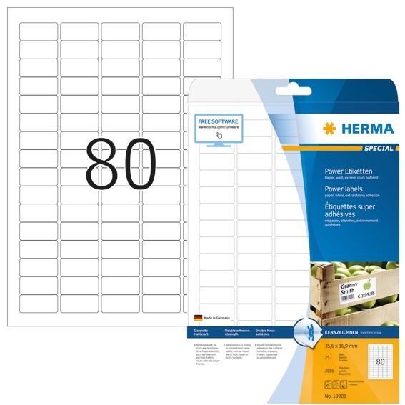 HERMA 10901 Etiketten A4 35,6x16,9 mm weiß extrem stark haftend