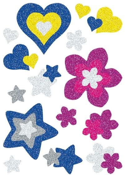HERMA 3272 10x Sticker MAGIC Herzen, Sterne+Blumen, glittery