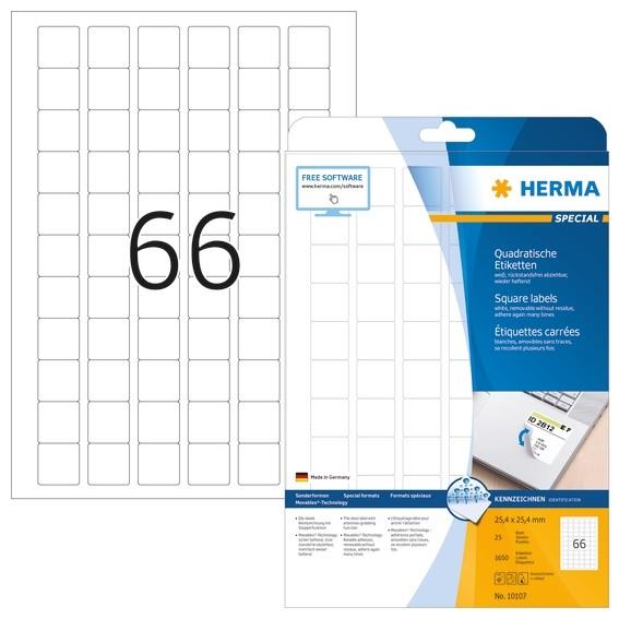HERMA 10107 Ablösbare Etiketten A4 25,4x25,4 mm weiß quadratisch