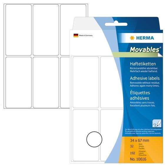 HERMA 10616 Vielzwecketiketten 34x67 mm weiß Movables/ablösbar P