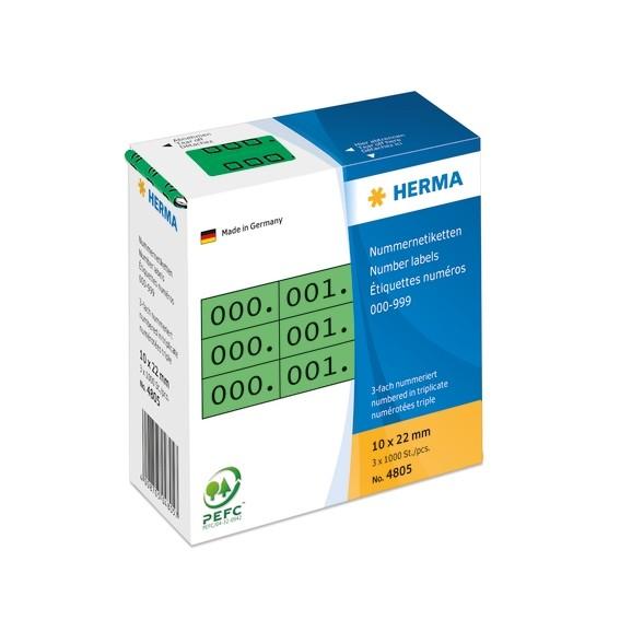 HERMA 4805 Nummernetiketten dreifach selbstklebend 10x22 mm grün
