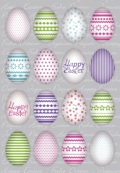 HERMA 1724 10x Sticker DECOR Happy Easter Bunte Eier