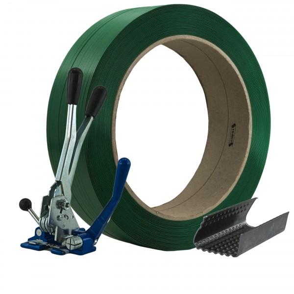 12 mm PET Umreifung Set Umreifungsband Abrollwagen Verschlussger