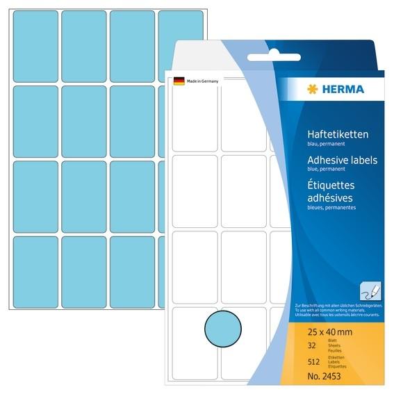 HERMA 2453 Vielzwecketiketten 25x40 mm blau Papier matt Handbesc