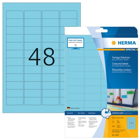 HERMA 4368 Farbige Etiketten A4 45,7x21,2 mm blau ablösbar Papie