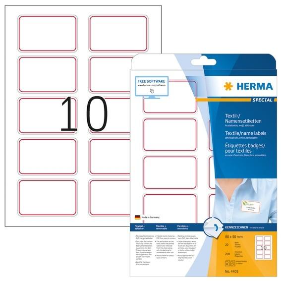 HERMA 4405 Namensetiketten A4 80,0x50,0 mm weiß/rot Rand ablösba