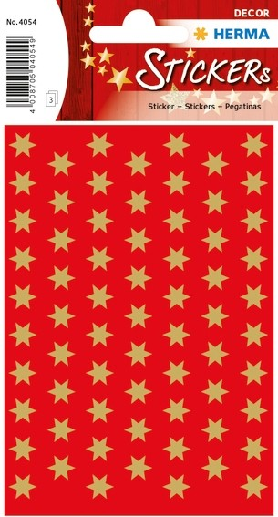 HERMA 4054 10x Sticker DECOR Sterne 6-zackig, gold Ø 8 mm