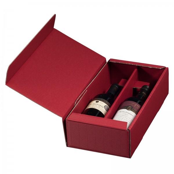 Geschenkkarton für 2 Flaschen Wein 192 x 95 x 360 mm Bordeaux
