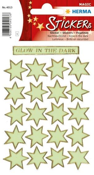 HERMA 4013 10x Sticker MAGIC Sterne, Leuchtfolie, Glow in the da