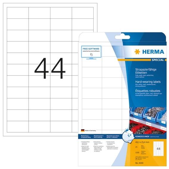 HERMA 4690 Etiketten strapazierfähig A4 48,3x25,4 mm weiß stark