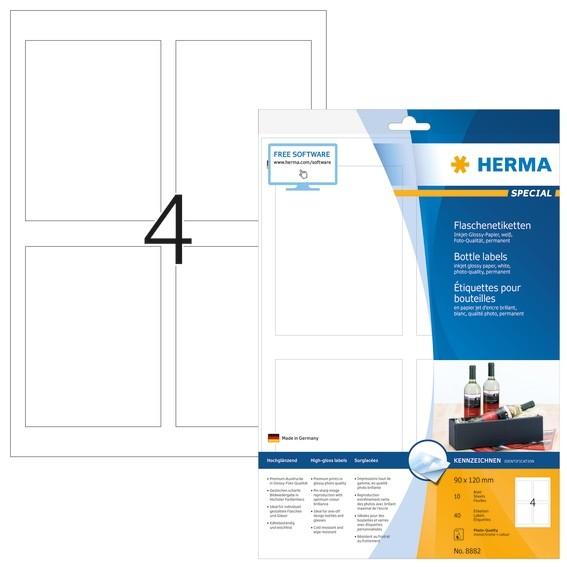 HERMA 8882 Flaschenetiketten A4 Inkjet 90x120 mm weiß Papier glä