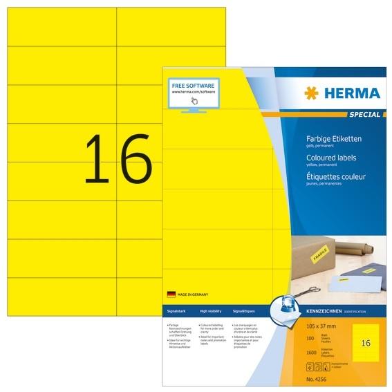 HERMA 4256 Farbige Etiketten A4 105x37 mm gelb Papier matt 1600