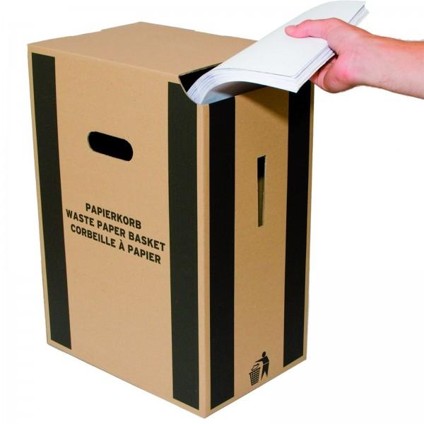 Papierkorb aus Karton 35 Liter in Braun