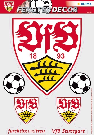 HERMA 1990 Fensterdecor VfB 35 x 50 cm, große Logos