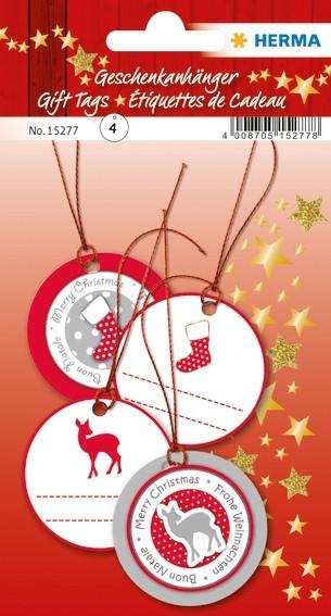 HERMA 15277 5x Geschenkanhänger Weihnachten 3D Ø 5 cm, rot silbe