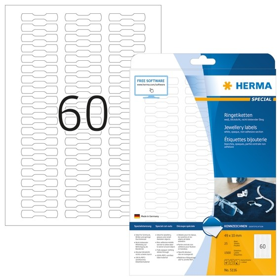 HERMA 5116 Ringetiketten A4 49x10 mm weiß Papier matt blickdicht