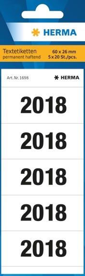 HERMA 1698 Jahreszahlen 2018 für Ordner 60x26 mm weiß Papier mat