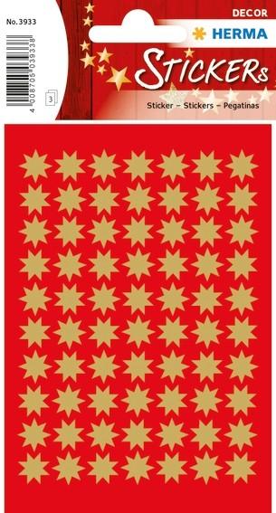 HERMA 3933 10x Sticker DECOR Sterne 8-zackig, gold Ø 10 mm