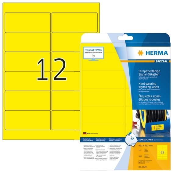 HERMA 8029 Signal-Etiketten strapazierfähig A4 99,1x42,3 mm gelb