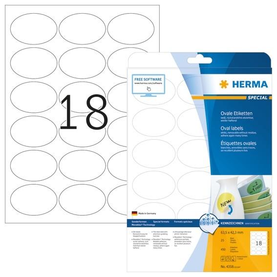 HERMA 4358 Ablösbare Etiketten A4 63,5x42,3 mm weiß oval Movable