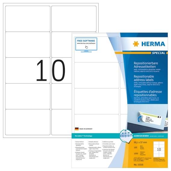 HERMA 10316 Repositionierbare Adressetiketten A4 99,1x57 mm weiß