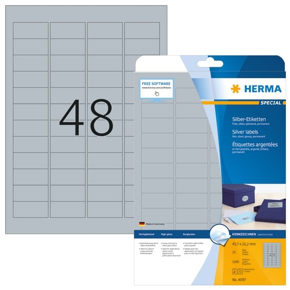 HERMA 4097 Etiketten A4 45,7x21,2 mm silber Folie glänzend 1200